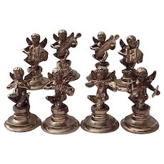 Musical Winged Cherub Brass Place Card Holders #2- C. 1950