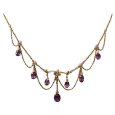 14K, Amethyst, Pearl Accent Festoon Necklace - C. 1910