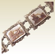 European 800 Silver, Marcasite and Mother of Pearl Cameo Bracelet - Circa 1935