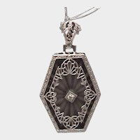 14K Rock Crystal Hexagon Pendant - C. 1925