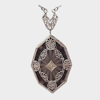 14K Octagon Rock Crystal Pendant - C. 1925