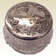 Wm. B. Kerr & Co. Sterling Art Nouveau Floral & Cut Glass Dresser Jar - Circa 1905