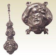 Unger Bros. Sterling Art Nouveau Bonnet Lady Watch Fob - Circa 1905