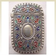 Circa 1900 Enamel & 925 Silver Norwegian Match Safe