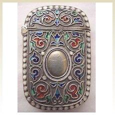 Circa 1900 Enamel & 925 Silver Norwegian Match Safe