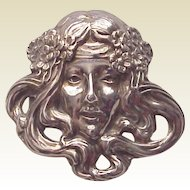 Unger Bros. Art Nouveau Lady Pin - Circa 1905