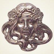 Unger Bros. Art Nouveau Lady Pin - Circa 1905