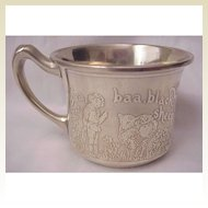 """Baa Baa Black Sheep"" & ""Miss Muffet"" Sterling Baby Cup"
