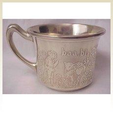 """Baa Baa Black Sheep"" & ""Miss Muffet"" Sterling Baby Cup"