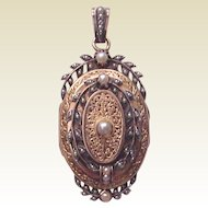 French 18kt. Rose Gold Victorian Locket with Silver and Seed Pearl Accents - Circa 1860