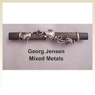 Georg Jensen Mixed Metal Bar Pin Circa 1933/43