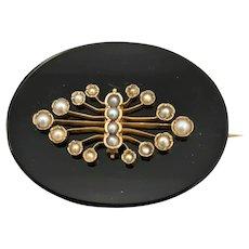 Victorian 14K, Onyx & Pearl Watch Pin - Circa 1875