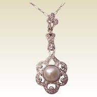 Platinum, Cultured Pearl and Diamond Pendent - Circa 1925