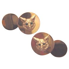 J. E. Caldwell 14Kt. Gold Fox Cuff Links / Cufflinks - Circa 1925