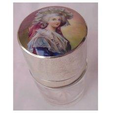 935 Silver, H.P. Enamel Salts Bottle Circa 1900