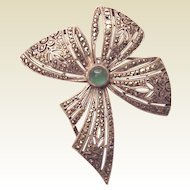French Silver, Marcasite and Chrysoprase Figural Pin - Circa 1930