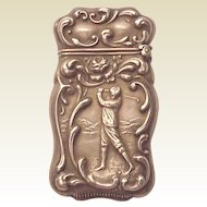 Sterling Match Safe / Matchsafe with Golf Motif - Circa 1900