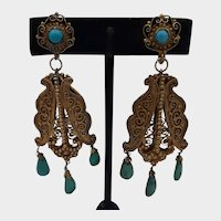 Fabulous Gold Fill & Turquoise Chandelier Earrings - Circa 1925