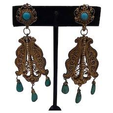 Fabulous Gold Fill & Turquoise Chandelier Earrings - Circa 1925