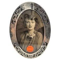 Engraved & Cut Out Sterling Photo Frame - Circa 1915
