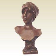 "Emmanuel Villanis 5 1/2"" Bronze Bust of 'Moe' - Circa 1925"