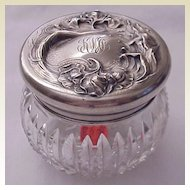 "Unger Bros ""Secret Of The Flowers"" Sterling & Cut Glass Dresser Jar - Circa 1905"