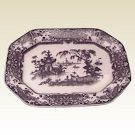 PW & Co. Transfer Ware Corean Pattern Mulberry Platter - Circa 1845