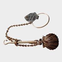 14K Finger Ring Hankie / Scarf Holder & Button / Glove Hook - Circa 1875