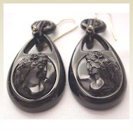 Carved Whitby Jet Cameo Pierced Earrings - Circa 1875