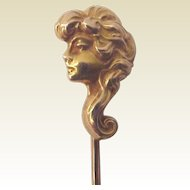 """The Eternal Question"" 14kt. Gold Art Nouveau Stick Pin - Circa 1905"