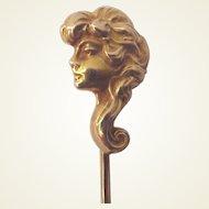 """""""The Eternal Question"""" 14kt. Gold Art Nouveau Stick Pin - Circa 1905"""