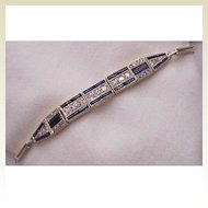 18kt. Gold, Diamond & Synthetic Sapphire Bracelet - Circa 1925