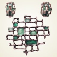 David Andersen - Otteren Sterling and Enamel Pin/Pendant and Earring Set - Circa 1960
