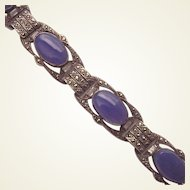 Sterling, Marcasite and Chalcedony Bracelet - Germany C-1930