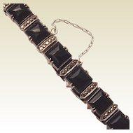Wachenheimer Sterling, Marcasite and Onyx Bracelet - Circa 1930