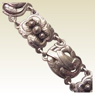 Georg Jensen Sterling Floral and Dove Bracelet - Circa 1960