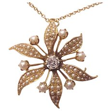 14Kt. Gold, Cultured Pearl and Diamond Accent Pin / Pendent - Circa 1900