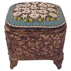 European Daisy Motif Mosaic Trinket Box - Circa 1910