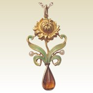 Art Nouveau 14Kt. Gold, Enamel, Citrine and Cultured Pearl Pendent - Circa 1910