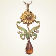 Art Nouveau 14Kt. Gold, Enamel, Citrine and Cultured Pearl Pendant - Circa 1910