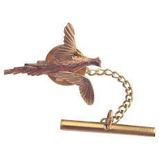 14Kt. Two Color Gold Pheasant Tie Tack - Circa 1960