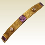 14Kt. Hand Engraved Gold Bracelet with Amethyst and Diamond Accent - Circa 1910