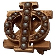 14K & Seed Pearl Phi Chi Medical Fraternity Pin - C. 1905
