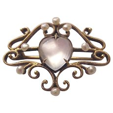 14kt. Gold and Figural Moonstone Heart Ladies Watch Pin - Circa 1910