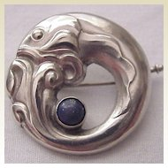 Georg Jensen 830 Silver Stylized Fish Pin # 10 with Lapis Accent - Circa 1925