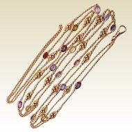 Art Nouveau 14Kt. Yellow Gold Lorgnette Chain with Semi Precious Gem Stones - Circa 1910