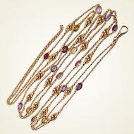 Art Nouveau 14Kt. Lorgnette Chain with Gemstones - Circa 1910