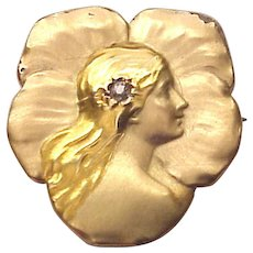 14Kt. Gold Art Nouveau Floral Watch Pin with a Lady's Profile - Circa 1910