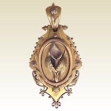 Victorian Aesthetic Movement 14kt. Gold Locket - Circa 1875
