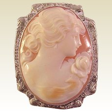 14Kt. White Gold and Shell Cameo Pin / Pendent - Circa 1925